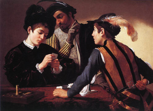 The Cardsharps (c. 1596), 90 x 112 cm, Kimbell Art Museum, Forth Worth