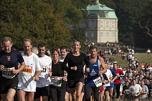 The runners at approx 10 km with the Eremitage Castle in the background, Dyrehaven, Denmark.