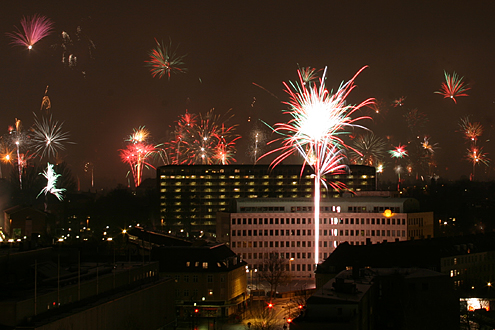 Fireworks over Lyngby town hall