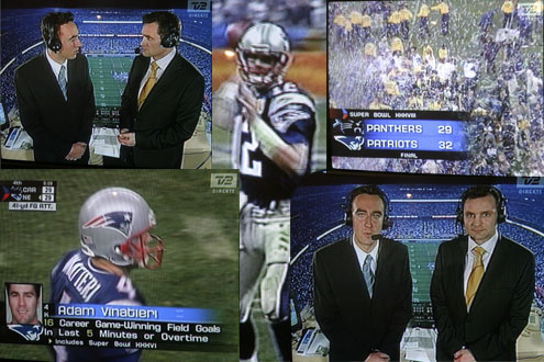 Superbowl XXXVIII. Photographs from TV2. Presenters Jimmy Bøjgaard and Claus Elming. Click for larger image.