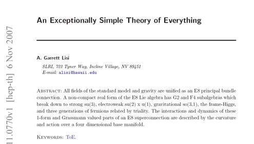 Garett Lisi: An Exceptionally Simple Theory of Everything