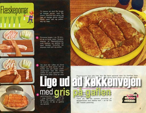 Collage with the original recipe from the recipebook 'Lige ud ad køkkenvejen med gris på gaflen' from the Danish eksport-svineslagteriernes sales union, probably sometime in the 1960'es.